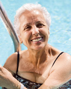Woman in Pool after Breast Reconstruction